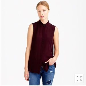 J Crew 2 Top 100% Silk Maroon Purple Blouse Shirt